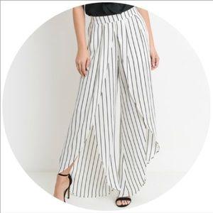 Pants - White striped wrap pants